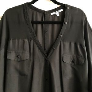 Daniel Rainn Tops - Sheer Panel Button Front Top